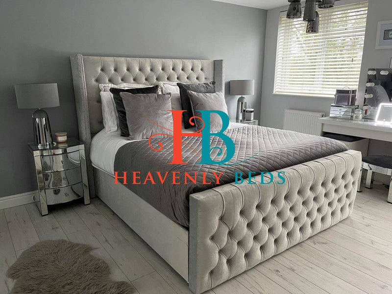 Imperial Wingback Storage Bed with High Footboard Heavenlybeds Exclusive Item