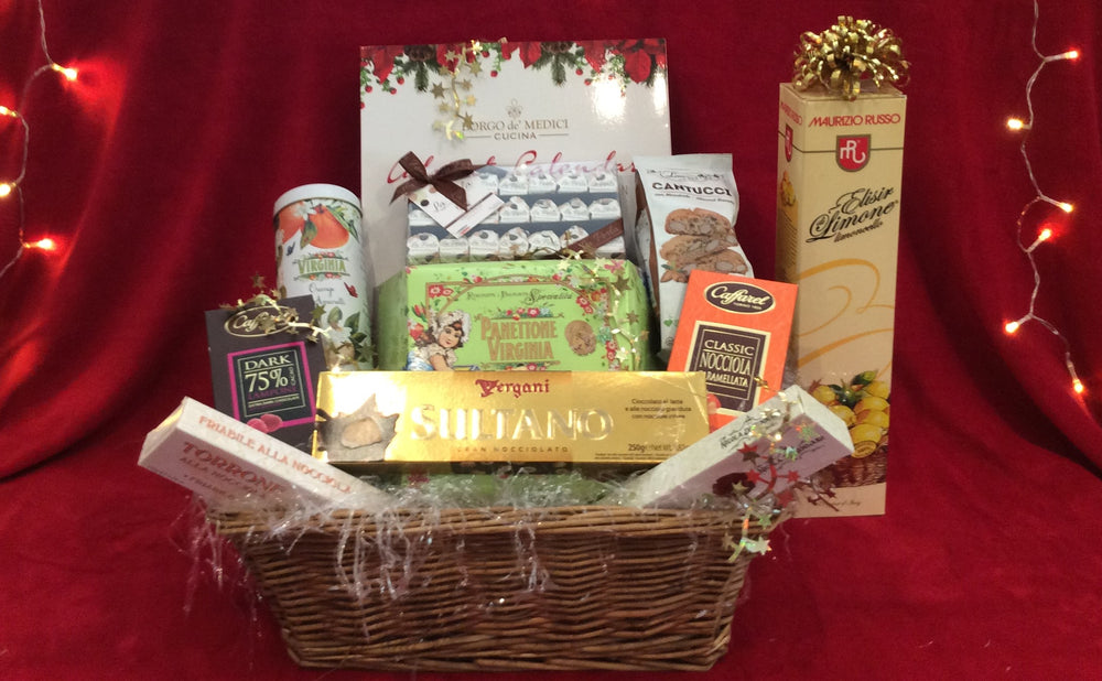 A Christmas Basket with Virginia Panettone and 3 items