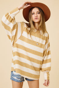 Mustard Stripe Loose Fit Top