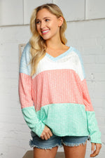 Load image into Gallery viewer, Pastel Multi Stripe V-Neck Top