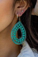 Load image into Gallery viewer, Filigree Tear Drop Earrings With Rhinestones