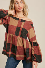 Load image into Gallery viewer, Brushed Knit Plaid Babydoll Top