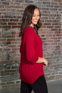 Wine Basic V-Neck Top