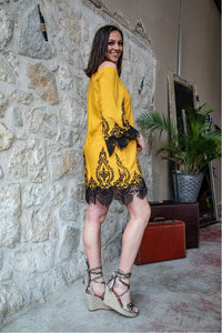 Mustard Embroidered Dress