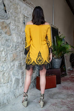 Load image into Gallery viewer, Mustard Embroidered Dress