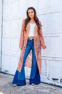 Long Sleeve Foliage Lace Duster