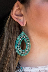 Filigree Tear Drop Earrings With Rhinestones