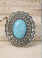 Load image into Gallery viewer, Boho Mandala Turquoise Ring