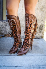 Load image into Gallery viewer, Brown + Leopard Concho Fringe Boots