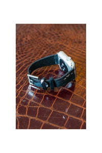 Metallic Black Faux Cowhide Smartwatch Band