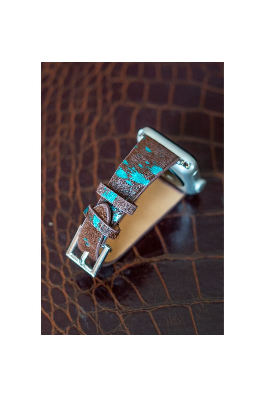 Metallic Brown + Turquoise Faux Cowhide Smartwatch Band
