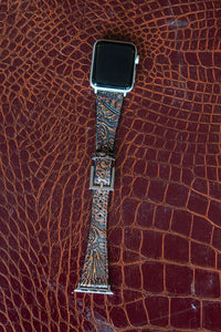 Brown Tooled Leather Watch Band