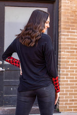 Load image into Gallery viewer, Buffalo Plaid + Leopard Pocket/Sleeve Top
