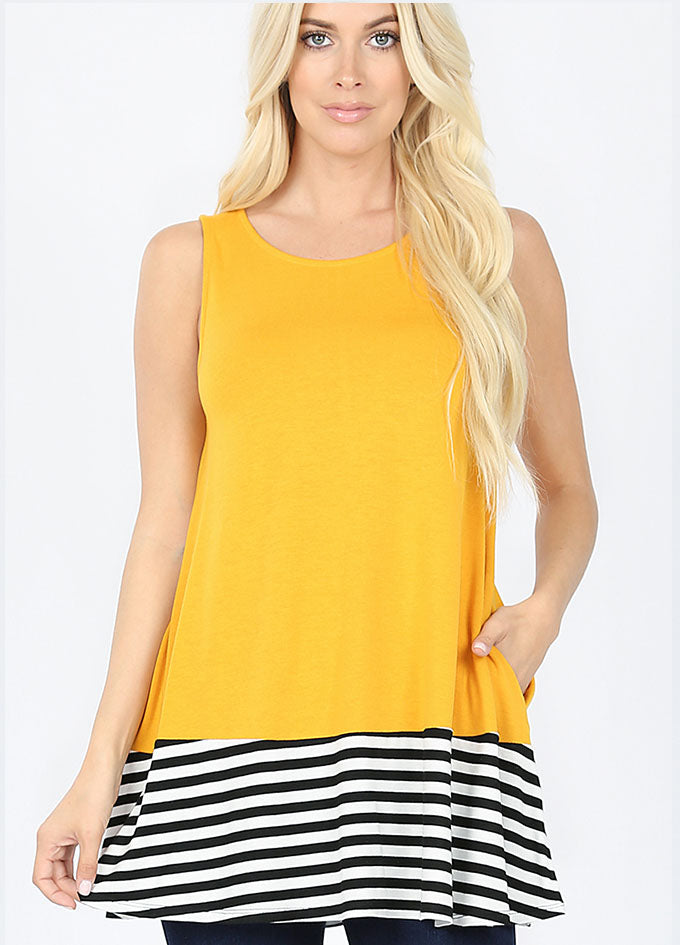 Striped & Solid Contrast Tank