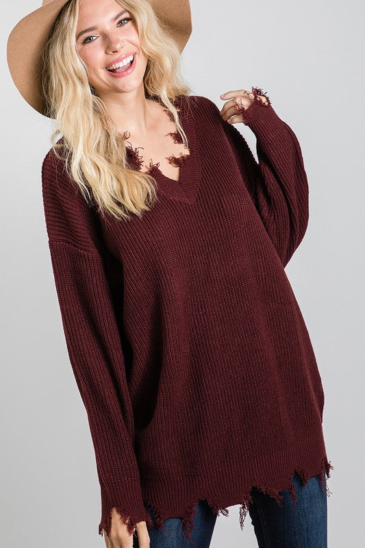 Wine Distressed V-Neck Sweater
