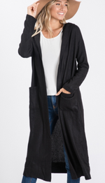 Load image into Gallery viewer, Black Hooded Maxi Cardigan