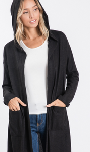 Black Hooded Maxi Cardigan