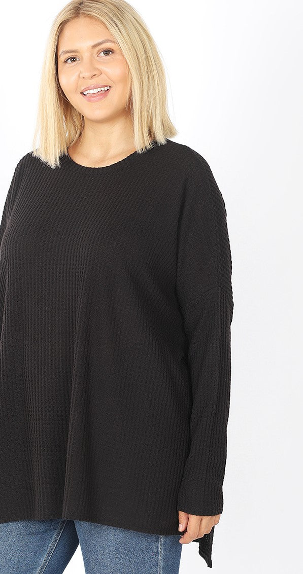 Brushed Thermal Round Neck Waffle Sweater