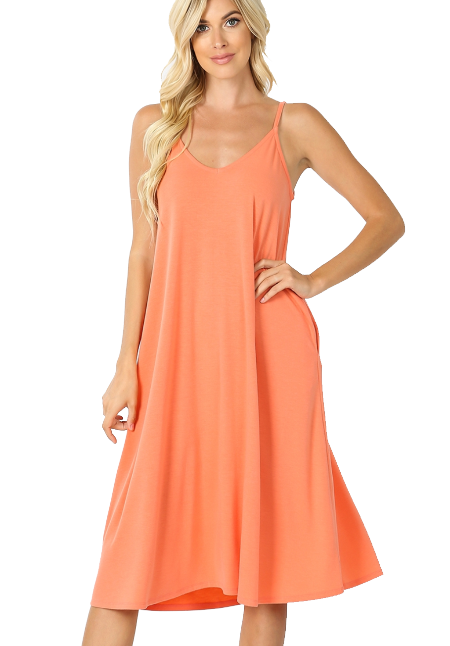 Coral V-Neck Cami Dress