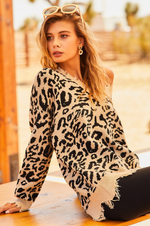 Load image into Gallery viewer, Leopard Distressed Sweater