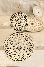 Load image into Gallery viewer, Mandala Double Wood Earring