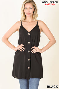 Long Black Button-Up Cami with Adjustable Straps