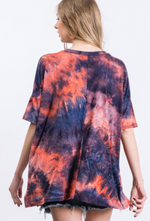 Load image into Gallery viewer, Blue + Red Tie-Dye Top