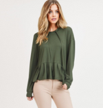 Load image into Gallery viewer, Ruffled Hem Hooded Top