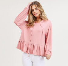 Ruffled Hem Hooded Top