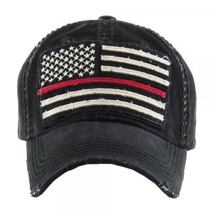 Distressed Thin Red Line Flag Cap