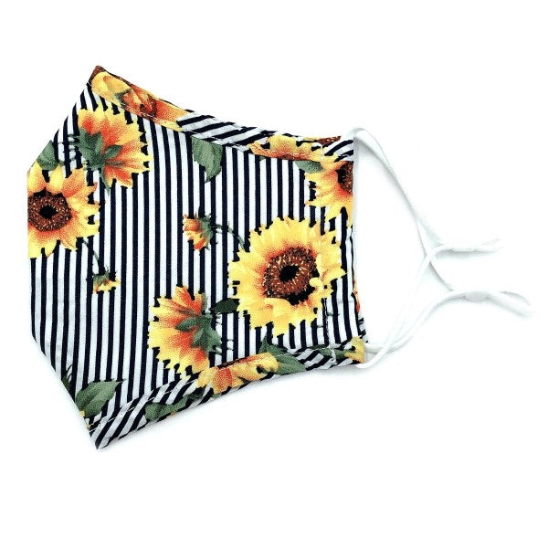 Adjustable Striped Sunflower Face Mask