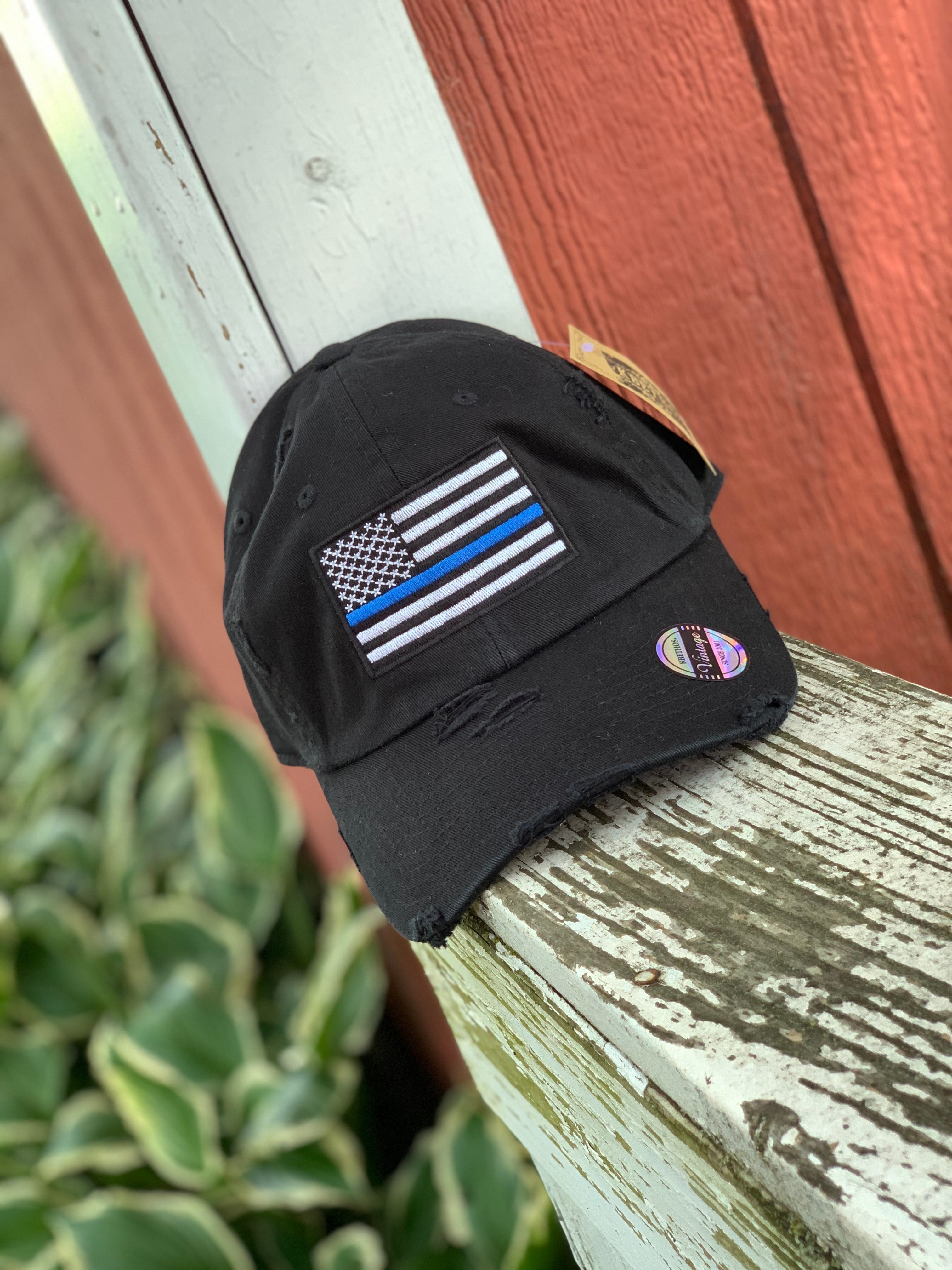 Thin Blue Line Distressed Black Cap