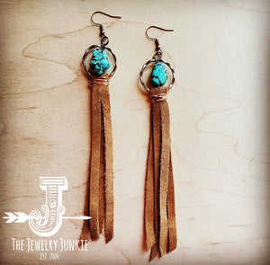 Suede Fringe Earrings with Turquoise Chunks
