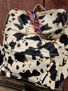 Cow Print Vegan Leather Backpack