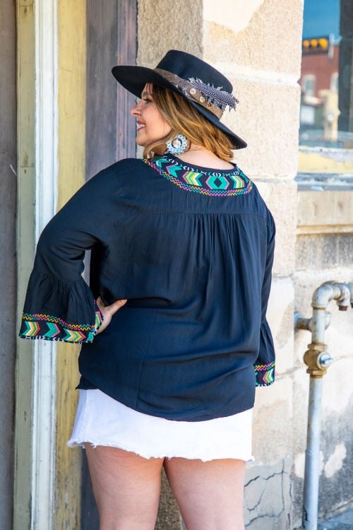 Black Aztec 3/4 Bell Sleeve Embroidery Top with Tie