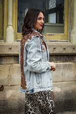 Load image into Gallery viewer, Distressed Denim Jacket with Rose Gold Sequin Detail