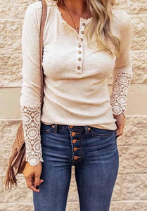 Button Up Top with Lace Sleeves