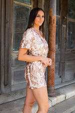 Load image into Gallery viewer, Rose Gold Sequin Romper