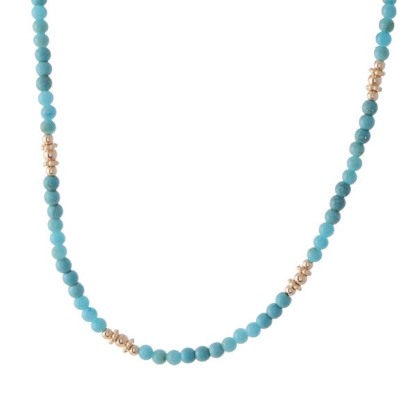 Turquoise Natural Stone Beaded Necklace with Gold Accents