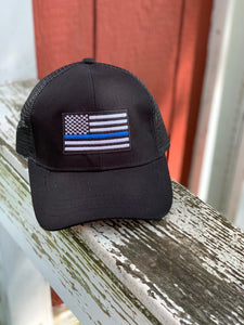 Thin Blue Line Black Pony Cap