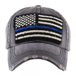Load image into Gallery viewer, Distressed Thin Blue Line Flag Cap