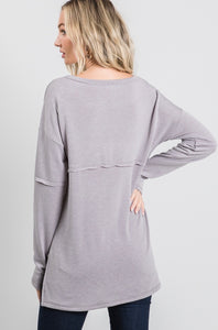 Long Sleeve Outside Stitch Top