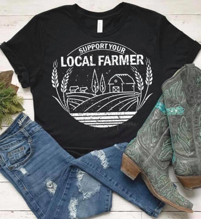 """Support Your Local Farmer"" Farm Scene Graphic Tee"