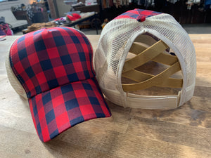 Red/Navy Plaid Cap