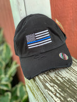 Load image into Gallery viewer, Thin Blue Line Distressed Black Cap