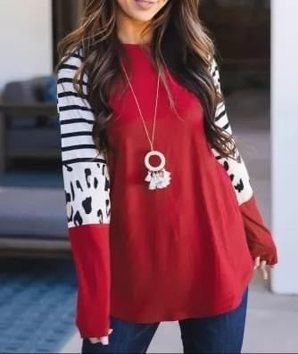 Red Long Sleeve Stripe + Leopard Top