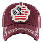 Load image into Gallery viewer, Distressed America Paw Print Cap