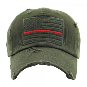 Distressed Thin Red Line Cap