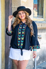 Load image into Gallery viewer, Black Aztec 3/4 Bell Sleeve Embroidery Top with Tie