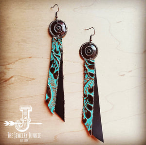 Leather Rectangle Earrings in Cowboy Turquoise